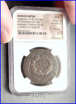 AUGUSTUS Genuine 16BC Rome Sestertius Authentic Ancient Roman Coin NGC i66646