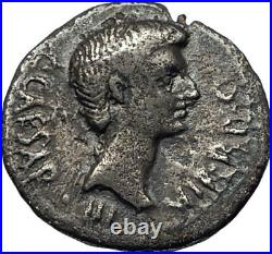 AUGUSTUS as OCTAVIAN 40BC Authentic Ancient Silver Roman Coin THUNDERBOLT i68124