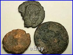Ancient Auth. 3 Rare$ Roman Coins 307-450 Ad. Cross, 2 Legion & Veiled Head