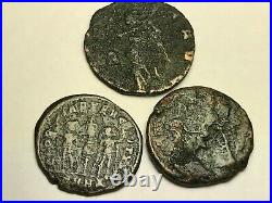 Ancient Auth. 3 Roman Coins 307- 361 Ad Spearing, 2 Legion & Winged Victory