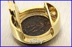 Ancient Coin Greek Roman Pendant Slide 18K Yellow Gold Enhancer Heavy 27.3g