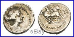 Ancient Coin Pendant with 22K Gold, Roman Republic, Q Titius, 90 BC AR Quinarius