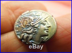 Ancient Coin Roman Republic Atilius Saranus 155 BC Silver Denari Colorful Tone