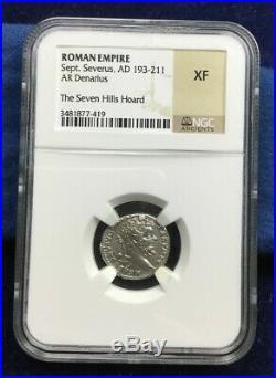 Ancient Coin Septimius Severus Silver Denarius NGC Extremely Fine XF Roman rare