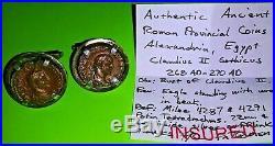 Ancient Coins of Alexandria Egypt silver cufflinks VF Claudius L Roman Egyptian