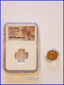 Ancient Gold Aureus Coin of Roman Emperor Tiberius