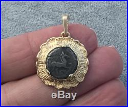Ancient Greek Roman Bronze Horse COIN 14K YELLOW GOLD Pendant Charm for Necklace