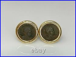 Ancient Greek Roman Constantine Coin Cufflinks in 14k Yellow Gold 13.7 Grams