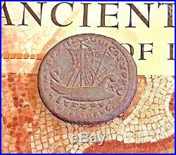 Ancient Greek Roman Empire Coin Marc Anthony Cleopatra Caesar Nero Ship Bronze E