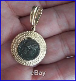 Ancient Greek Roman Small Coin In 14k Gold Bezel Pendant With Big Bale Nice