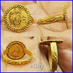 Ancient High Carat Gold Kushan Budaa coin Old Rare Ring # 58