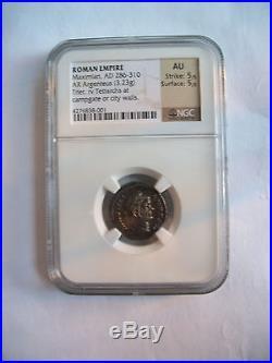 Ancient Roman 300AD coin silver Argentus AU NGC Trier Tetrachs RARE high grade