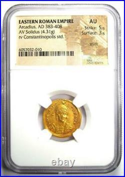 Ancient Roman Arcadius AV Solidus Gold Coin 383-408 AD Certified NGC AU