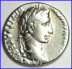 Ancient Roman Augustus AR Denarius Coin 27 BC 14 AD Choice VF / XF