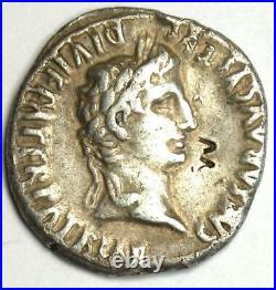 Ancient Roman Augustus AR Denarius Coin 27 BC 14 AD Good VF (Very Fine)