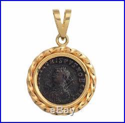 Ancient Roman Bronze Coin Crispus A. D. 317-326 in 14kt Solid Gold Pendant