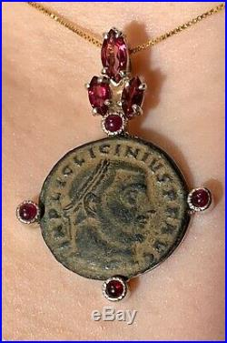 Ancient Roman Bronze Coin Mounted On A Handmade Silver And Ruby Pendant! Nice