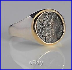 Ancient Roman Bronze Coin in Ladies 14kt Gold & S/S Ring size 7 A. D. 336-361