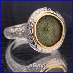 Ancient Roman Bronze Coin in Sterling Silver & 14kt Gold Ladies Ring size 6
