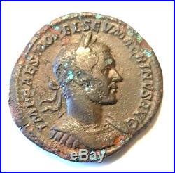 Ancient Roman Bronze Macrinus Sestertius Very Scarce Coin! 217-218 Ad