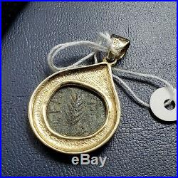 Ancient Roman Bronze Pruta Coin Nero 14K Yellow Gold Bezel Pendant Aber & Levine