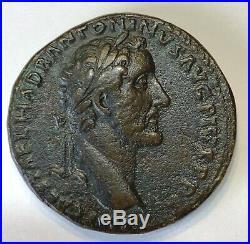 Ancient Roman Bronze Sestertius Antoninus Pius 138-161 Ad. Gorgeous Coin