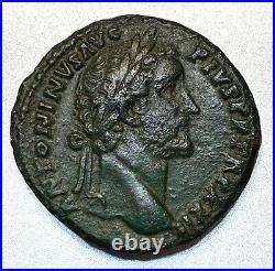 Ancient Roman Bronze Sestertius Antoninus Pius 138-161 Ad. Scarce Coin