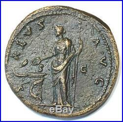 Ancient Roman Bronze Sestertius, Antoninus Pius, Rome Mint 138-161 Ad, Nice Coin