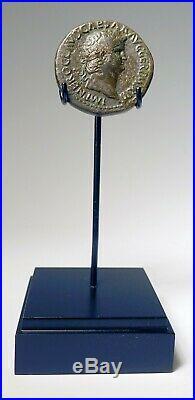 Ancient Roman Bronze Sestertius Coin Emperor Nero Seated Roma Victory 54-68 AD