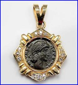 Ancient Roman Bronze coin Constantius II AD 336-361 in 14kt Gold Diamond Pendant