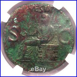 Ancient Roman Caligula AE As Vesta Coin 37-41 AD Certified NGC XF (EF)