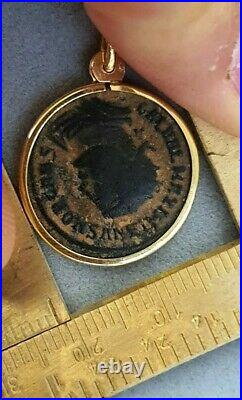 Ancient Roman Coin 18k Yellow Gold Pendant By Motoni