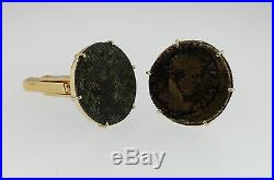 Ancient Roman Coin Cufflinks 18 K Yellow Gold Stamped 750 Twelve Grams