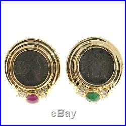 Ancient Roman Coin Earrings 18k Yellow Gold Designer Olsen Ruby Emerald Diamond