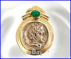 Ancient Roman Coin & Emerald Pendant in 14K Gold Mount