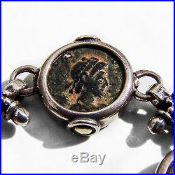Ancient Roman Coin Link Bracelet Toggle Clasp Sterling Silver