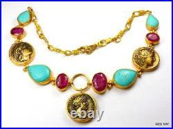 Ancient Roman Coin Necklace Statement Turkey Gold Genuine Turquoise Garnet