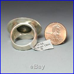 Ancient Roman Coin Ring, Sterling Silver, Size 8