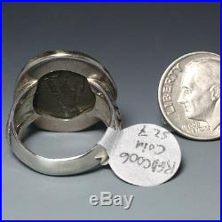 Ancient Roman Coin Ring, Sterling Silver with 18K Gold Bezel, Size 7