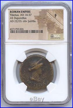 Ancient Roman Coin Tiberuis AD 14-37 (#128) Dupondius. NGC Fine. Carefuly Check