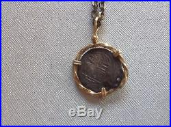 Ancient Roman Coin with 14K gold setting and diamond chain mens