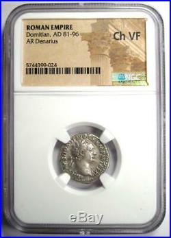 Ancient Roman Domitian AR Denarius Coin 81-96 AD. Certified NGC Choice VF