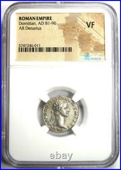 Ancient Roman Domitian AR Denarius Silver Coin 81-96 AD Certified NGC VF