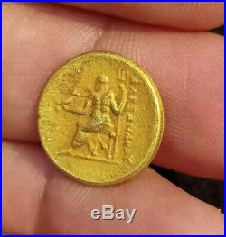 Ancient Roman Emperor & Goddess Nike Holding Bird Athena Solid 18K Gold Coin 4g