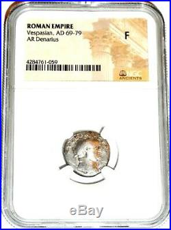 Ancient Roman Emperor Vespasian Silver Coin NGC Certified, & Story Certificate
