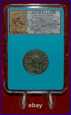 Ancient Roman Empire Coin AURELIAN Mars MUSEUM QUALITY Silvered Antoninianus