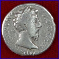 Ancient Roman Empire Coin MARCUS AURELIUS Silver Denarius Salus Feeding Snake