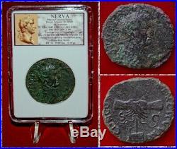 Ancient Roman Empire Coin NERVA Large Sestertius Clasped Hands RARE coin
