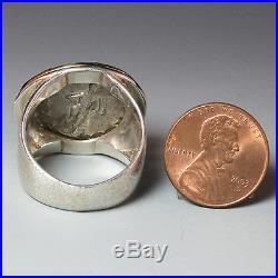 Ancient Roman Empire Coin Ring, Sterling Silver with 18K Gold Bezel, Size 10