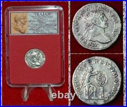 Ancient Roman Empire Coin TRAJAN Silver Denarius DACIA Victory Beautiful Coin